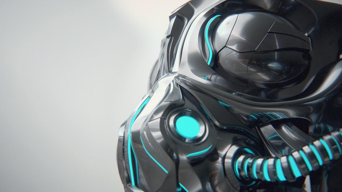 concept metal sci-fi Helmet