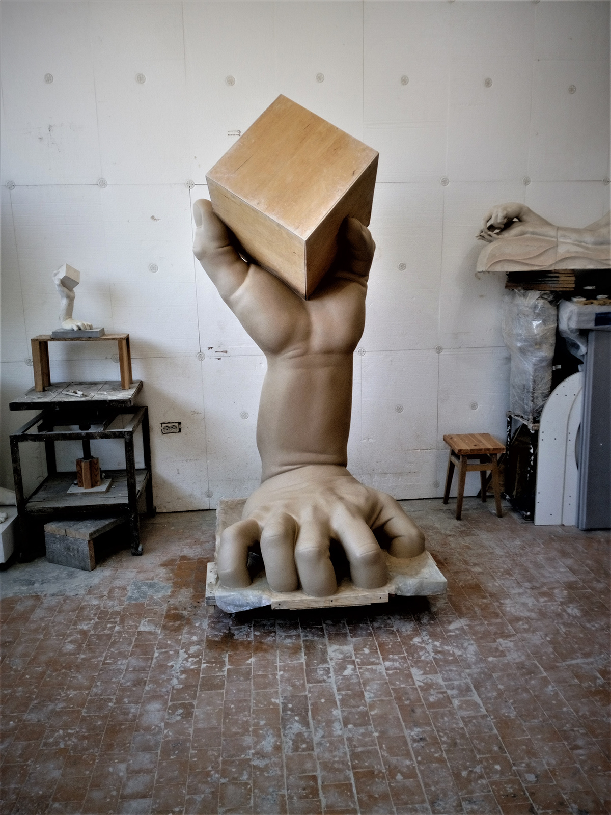 Adrian Balogh body concrete hand monument sculpting  sculpture stainless steel