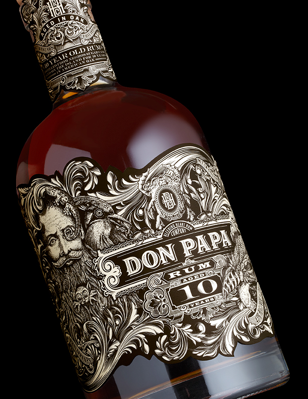 Don Papa 10 Year Old illustration and packaging by Stranger & Stranger