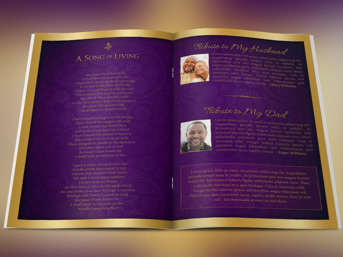 Regal Funeral Program Template Large on Behance – Funeral Program Background