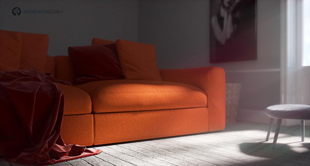 Sofa wizualizacje mebli,betonowa podłoga