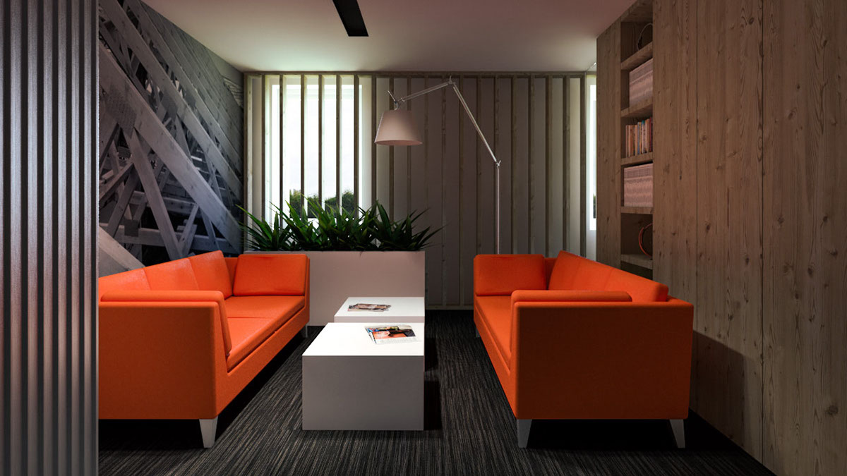 Interior visualizations of an office designed by pl architekci sketchup 3dsmax v ray photoshop