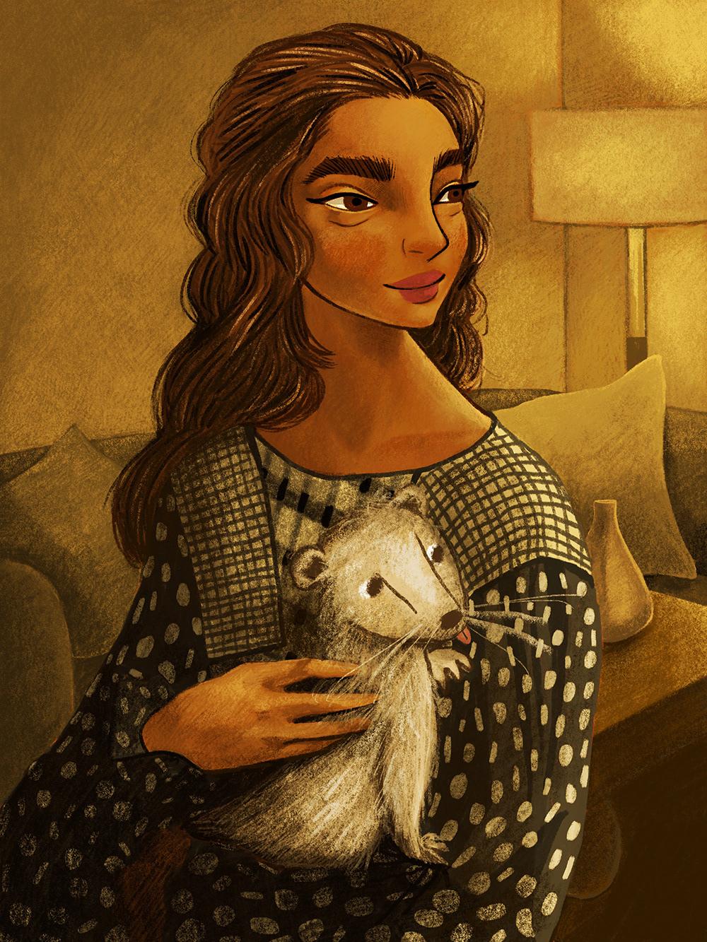 kidlitart Monochromatic Painting portrait illustration Storybook art