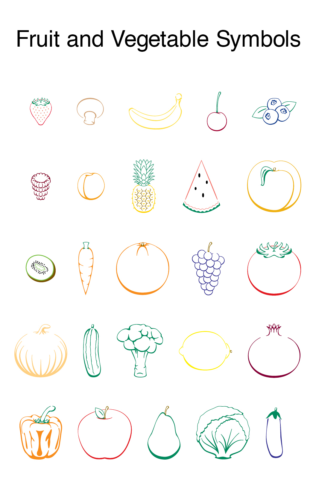 fruit and vegetable symbols on behance