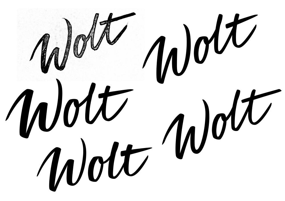 Wolt app lettering logo vector bezier