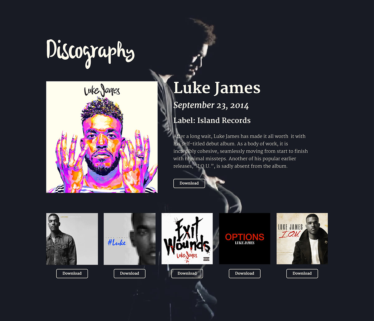 luke james epk sample on pantone canvas gallery With band epk template