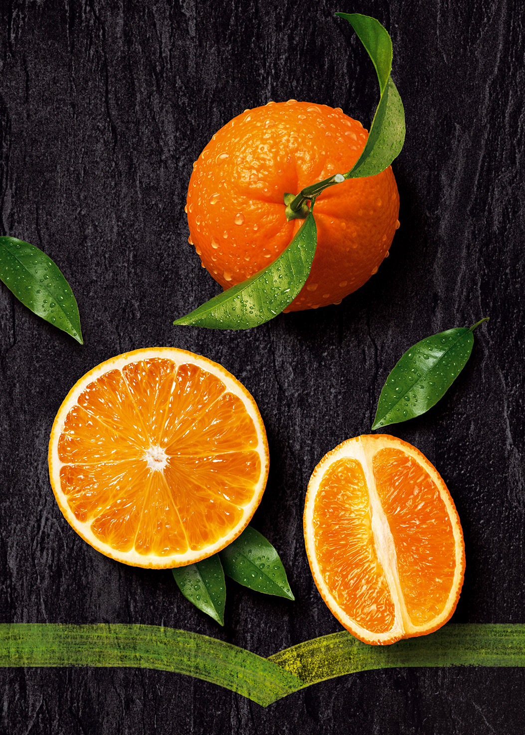 Photo-realistic image of fresh juicy oranges on a slate background used for Minute Maid packaging.