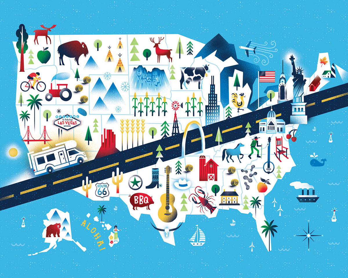 Country Living USA Road Trip Map on Behance