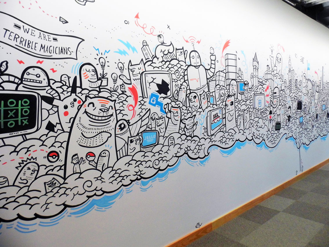 Facebook london office murals on behance for Thank you mural