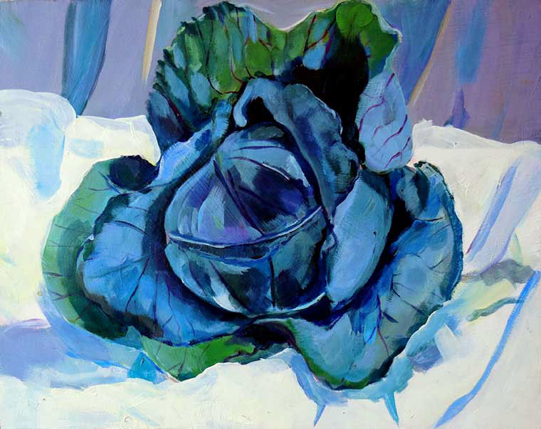 The most beautiful cabbage in the land, acrylic on Masonite by Zoe Zuniga