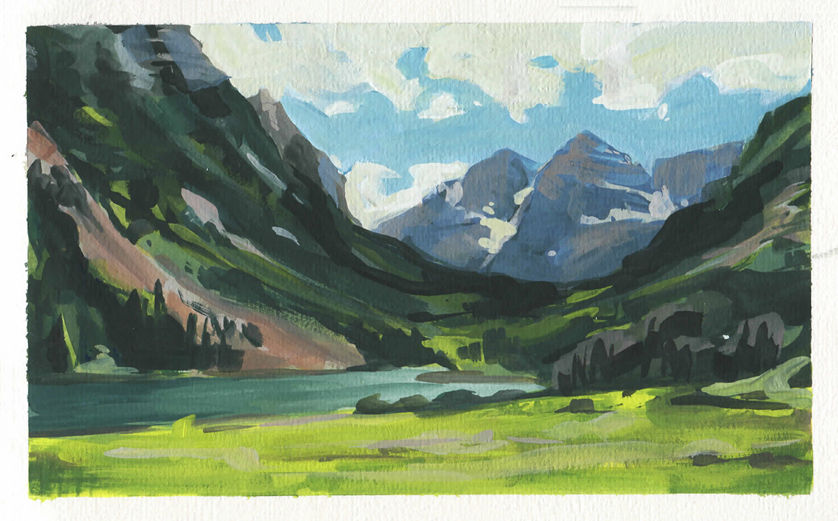 Image may contain: painting, grass and mountain