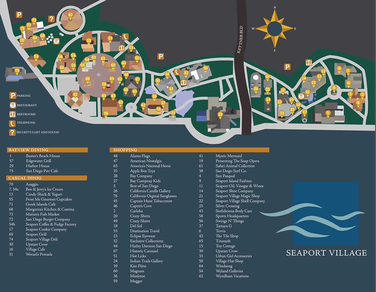 Seaport Village Map SEAPORT VILLAGE MAP on Behance Seaport Village Map