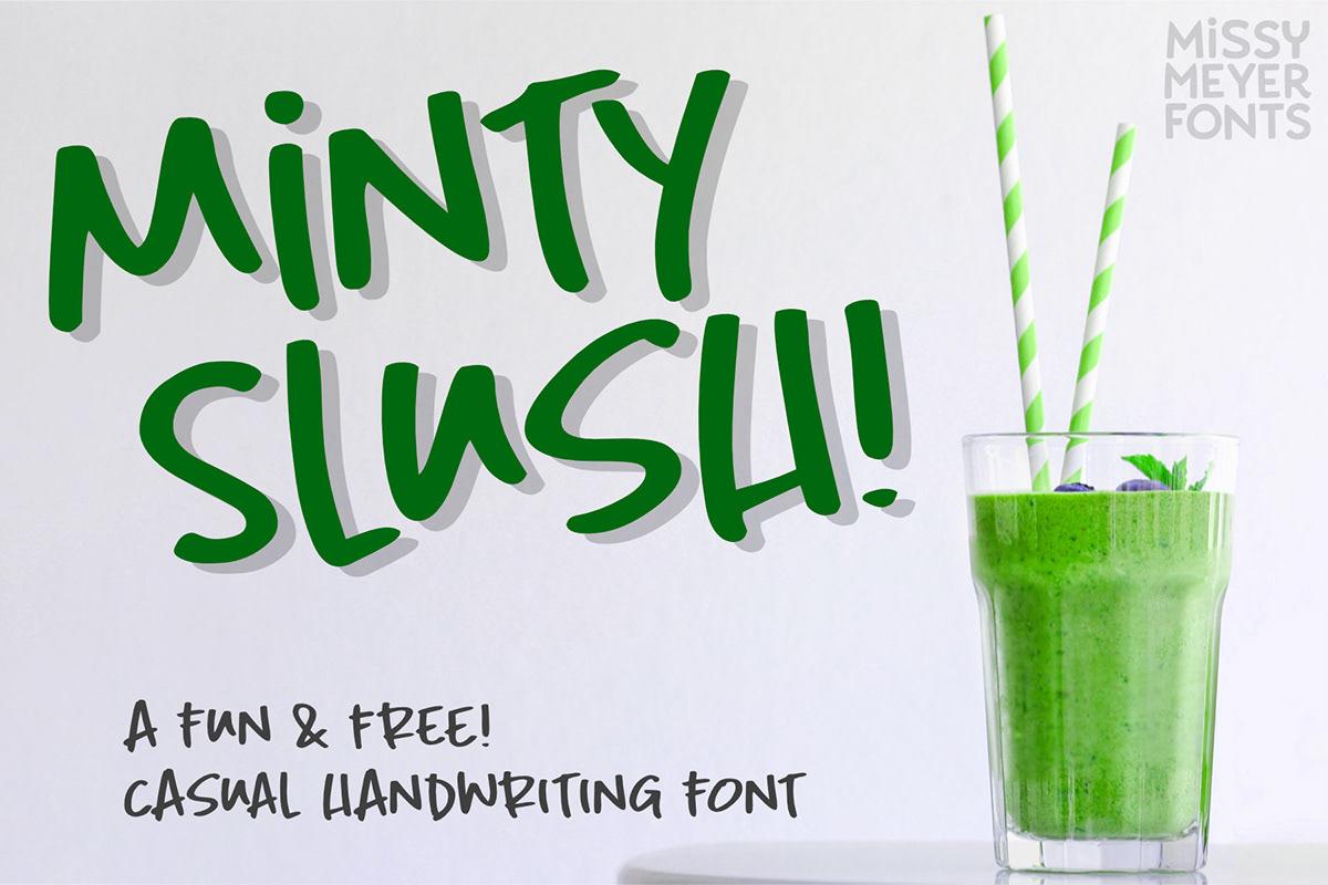 caps font free freebie Fun handwriting handwritten minty slush Typeface uppercase