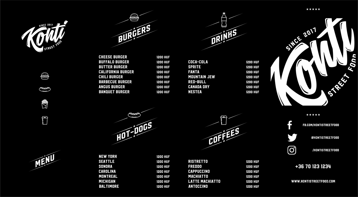 vector Packaging logo Black&white Hipster Street Food hamburger branding  identity Fast food