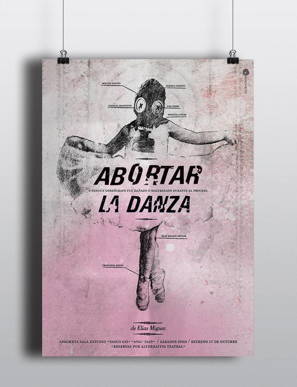 afiche poster teatro collage tipografia