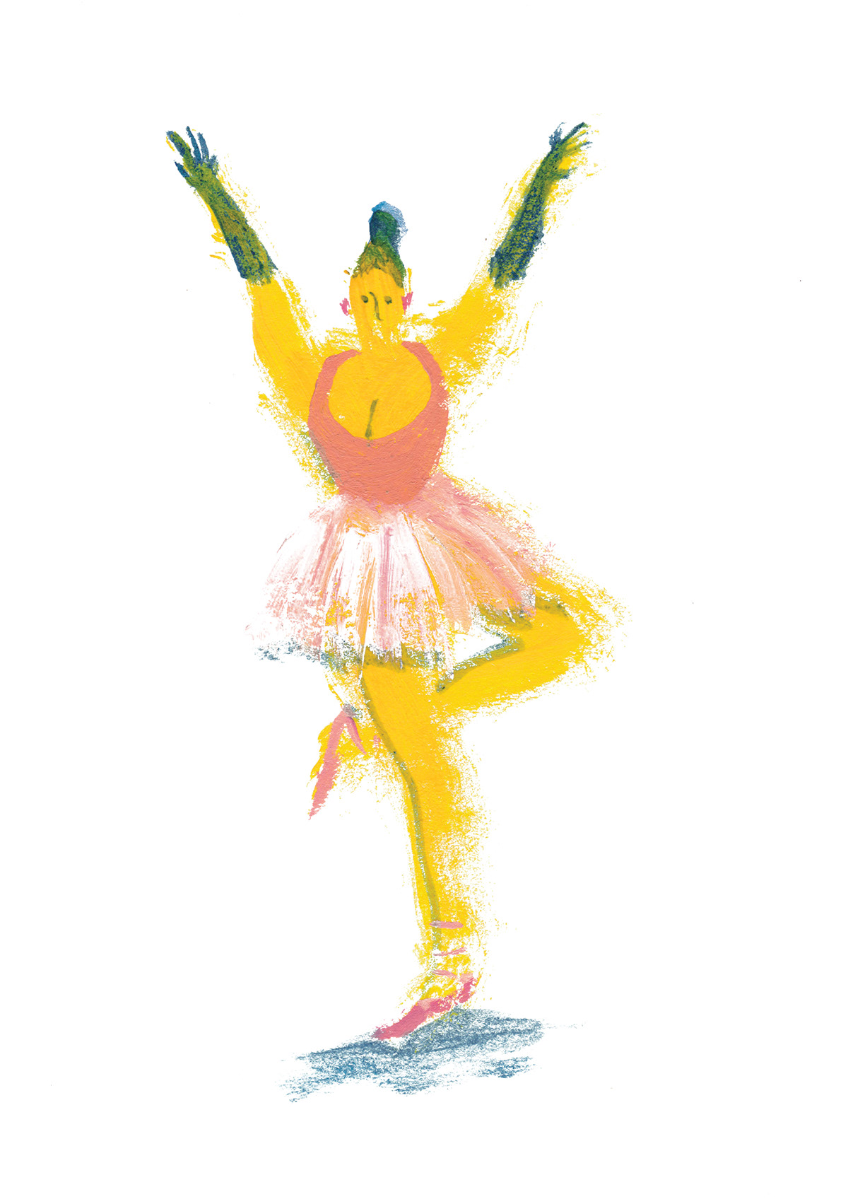 yellow acrylics painting   girls sea ballet witch case rain