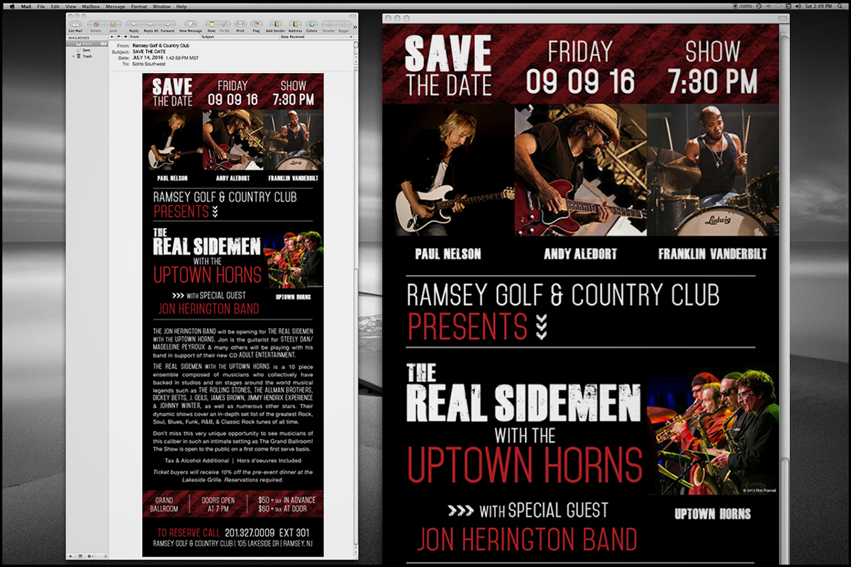 musicians The Real SideMen Uptown Horns bands promotional poster Email Blast web advertising Logo Design typography