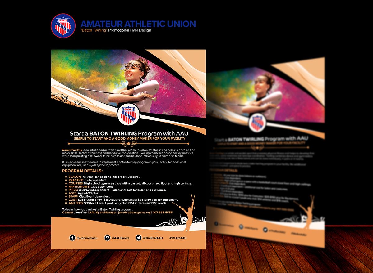 aau baton twirling program promo flyer design on pantone canvas