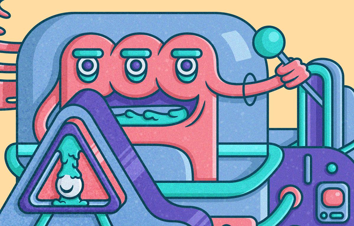 robot Slimy dog cap Pet bot brain cartoon buttons sliced parasite colorful cute
