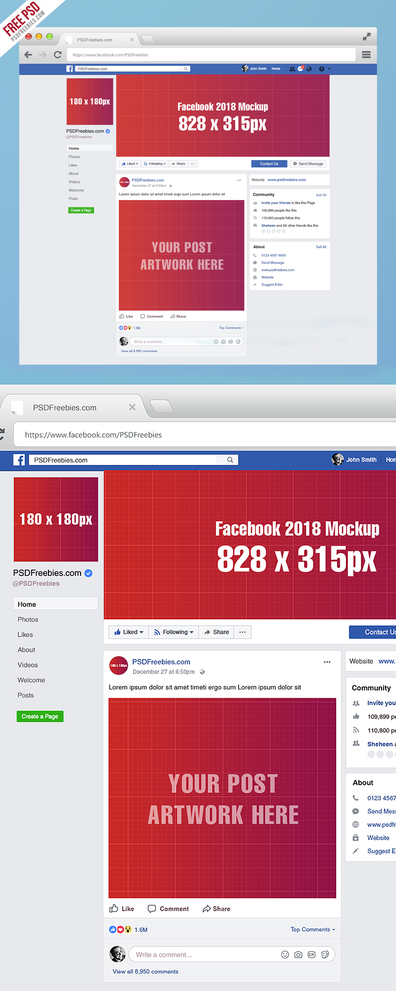 Facebook page mockup 2018 template psd on behance this facebook page mockup 2018 template psd is available for free download maxwellsz