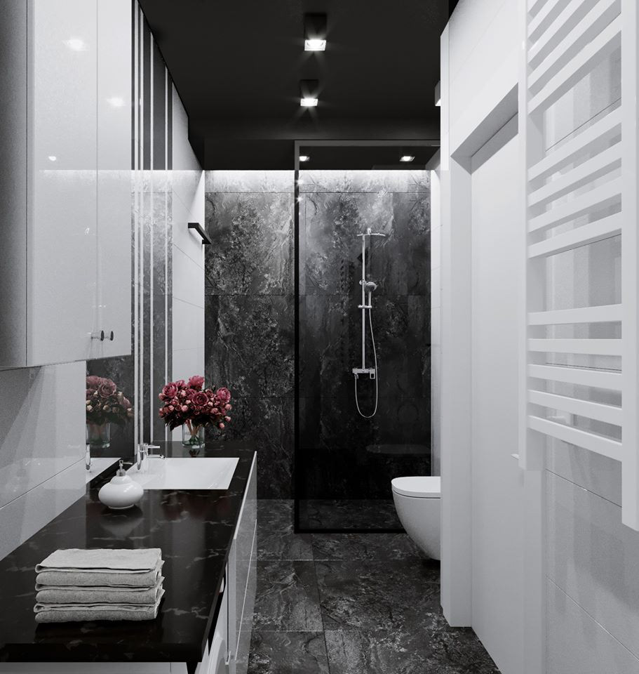 Image may contain: bathroom, sink and door