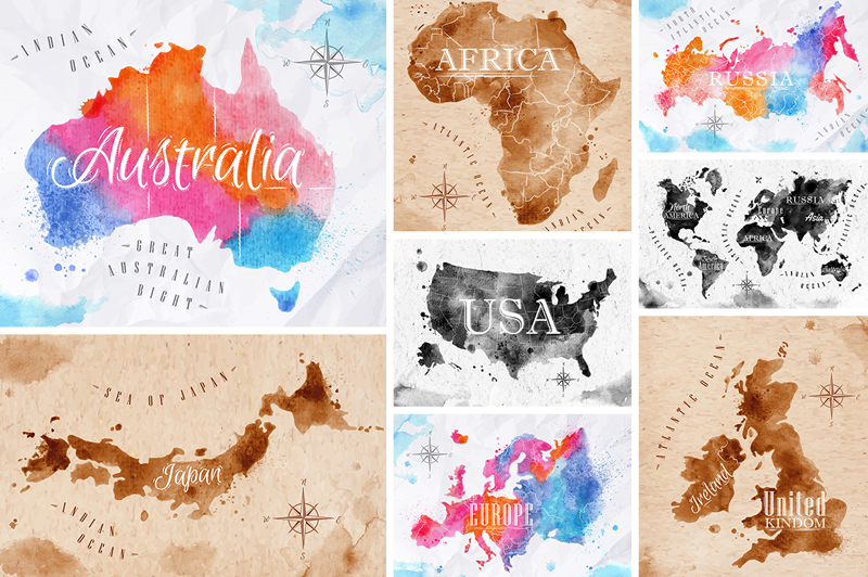 Watercolor world map on behance watercolor world map in vector format europe usa world itali russia japan australia united kingdom scotland gumiabroncs Image collections