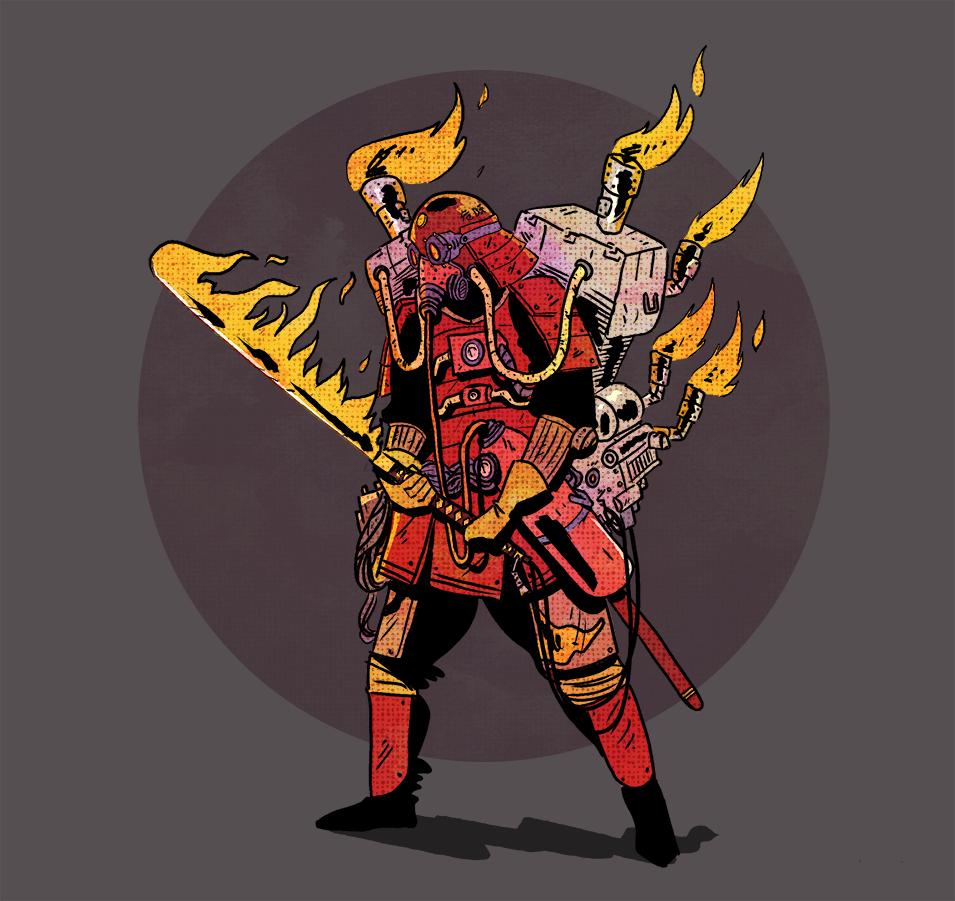 ILLUSTRATION  STEAMPUNK dieselpunk fire samurai ronin Sword Armor engine photoshop