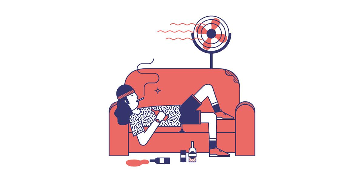 vices bad habits people vector pattern funny minimal Nico189 phileasfoggagency