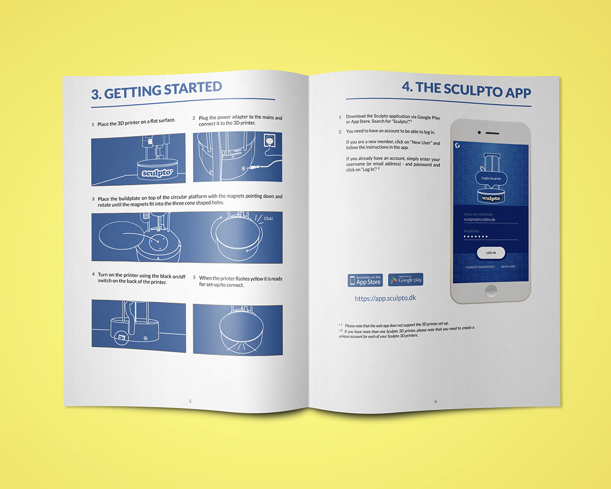 SCULPTO - start guide manual, brochure, packaging on Behance