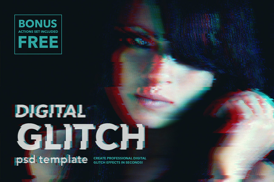 Digital glitch effect for Photoshop on Behance