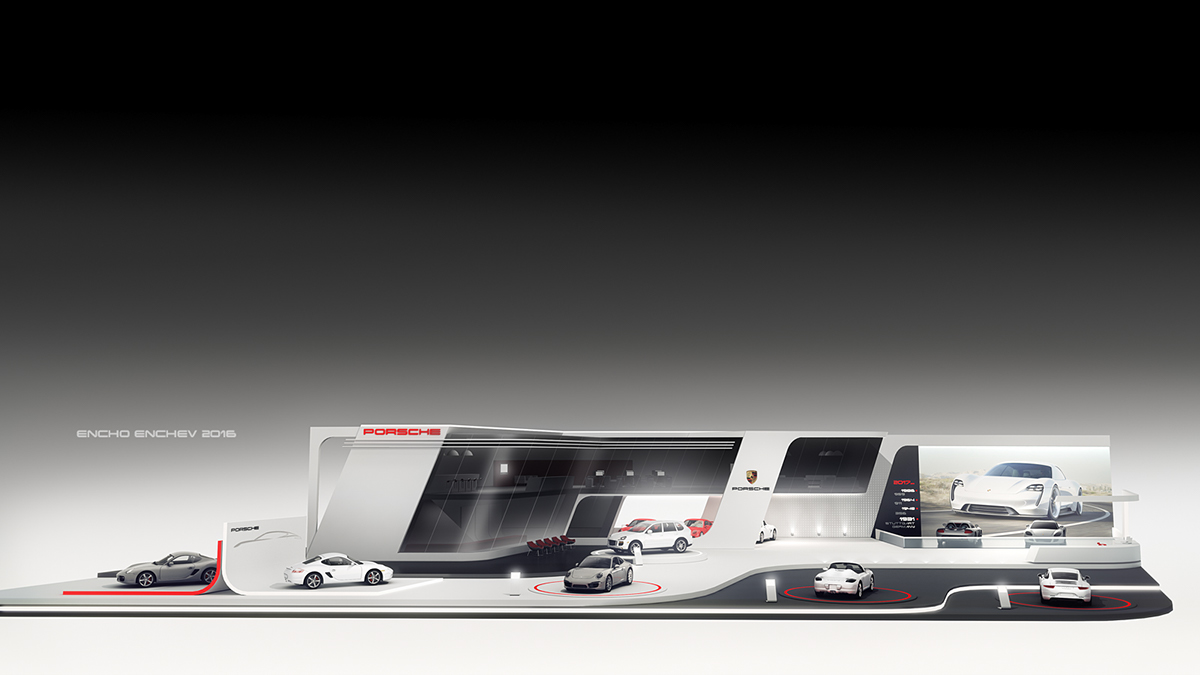 Porsche stand concept for geneva 2017 on behance for K architecture geneve