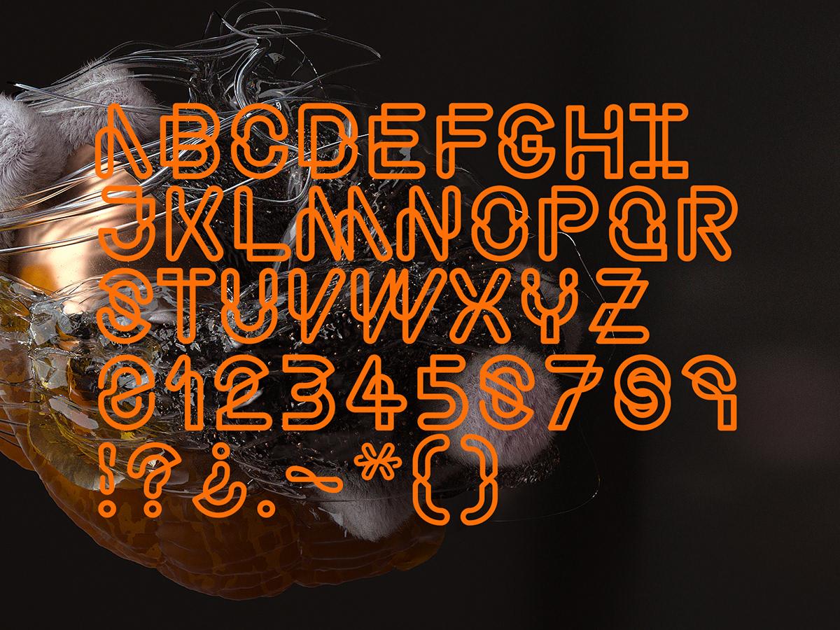 3D visual Typeface setdesign animation  octane c4d abstract organic