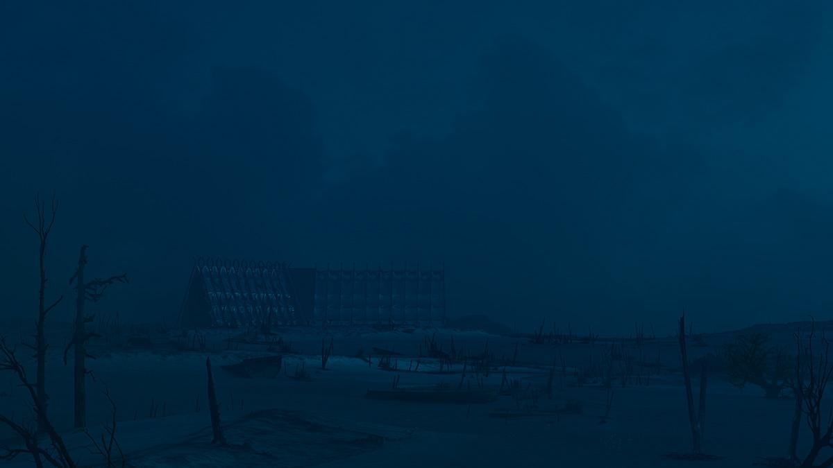 architecture archviz desert DUSK exterior night ship sunset tent visualization