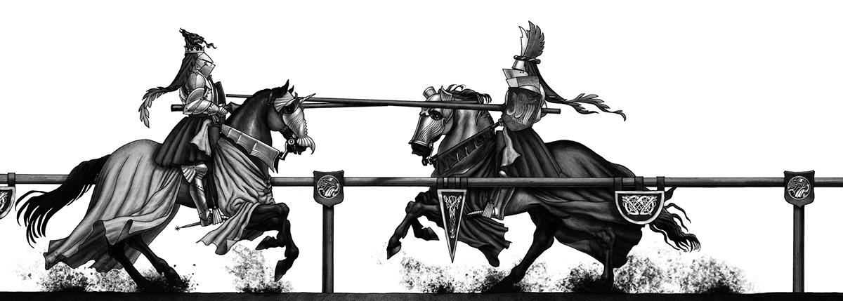 Une joute entre deux chevaliers d'Arthur