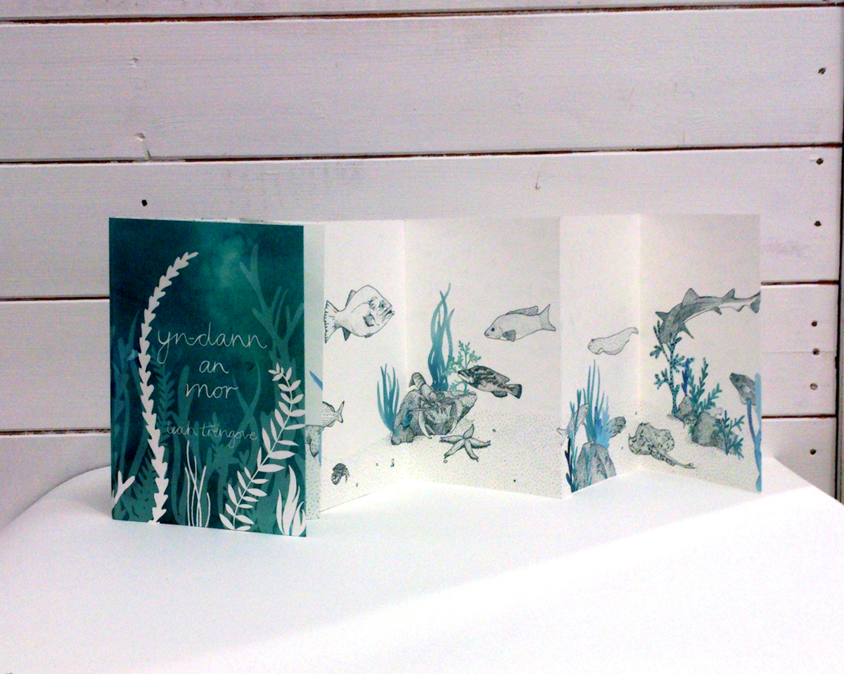 cornwall Cornish Fish stippling fish concertina book cover watercolour book blue underwater under the sea