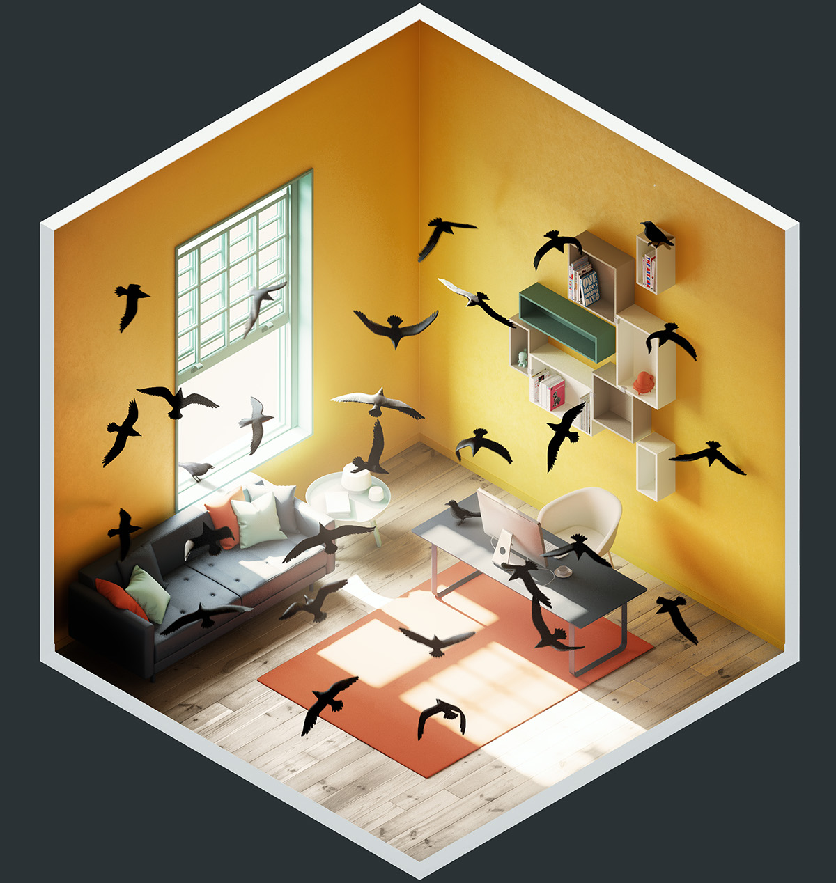 4 rooms on behance for Make a 3d room