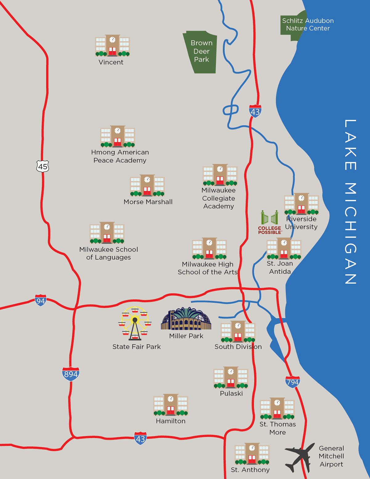 College Possible Milwaukee Map on Behance