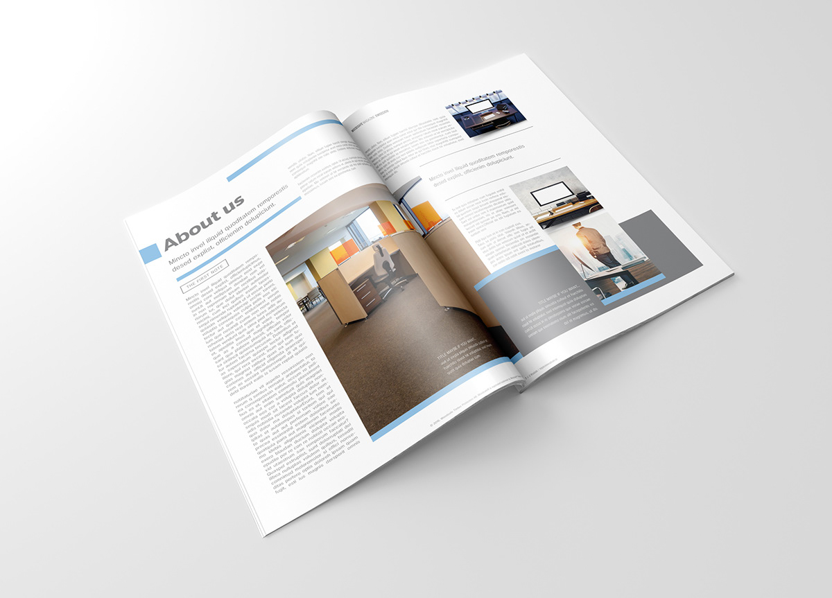 56 pages magazine template for woodsafe company on pantone canvas