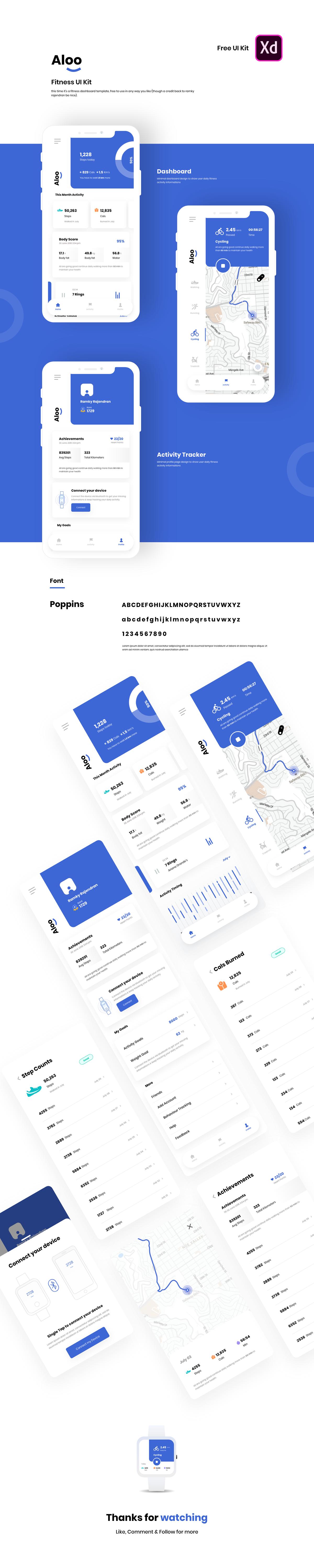 app ui kit fitness free dashboard interaction