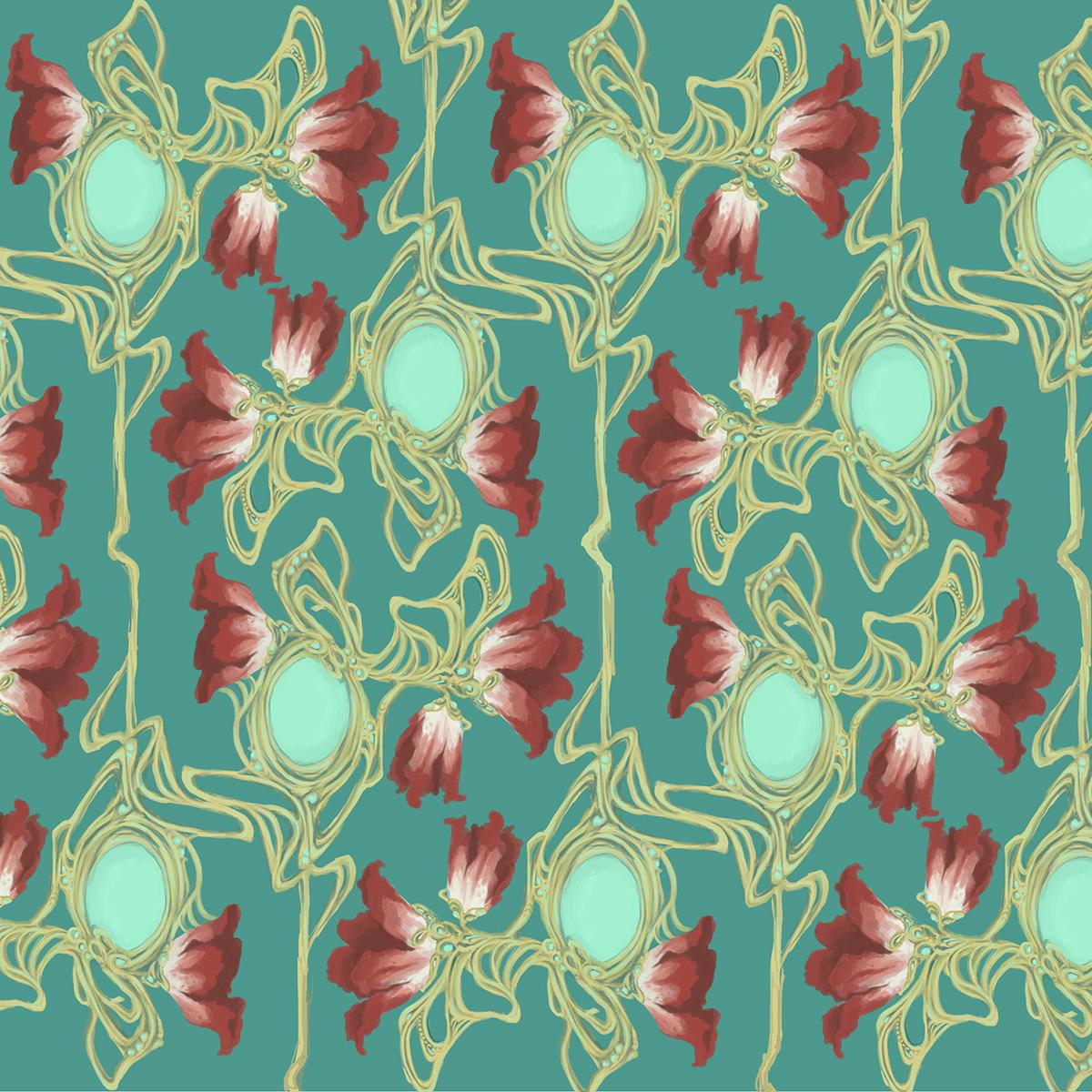 Art Nouveau Floral Pattern On Behance