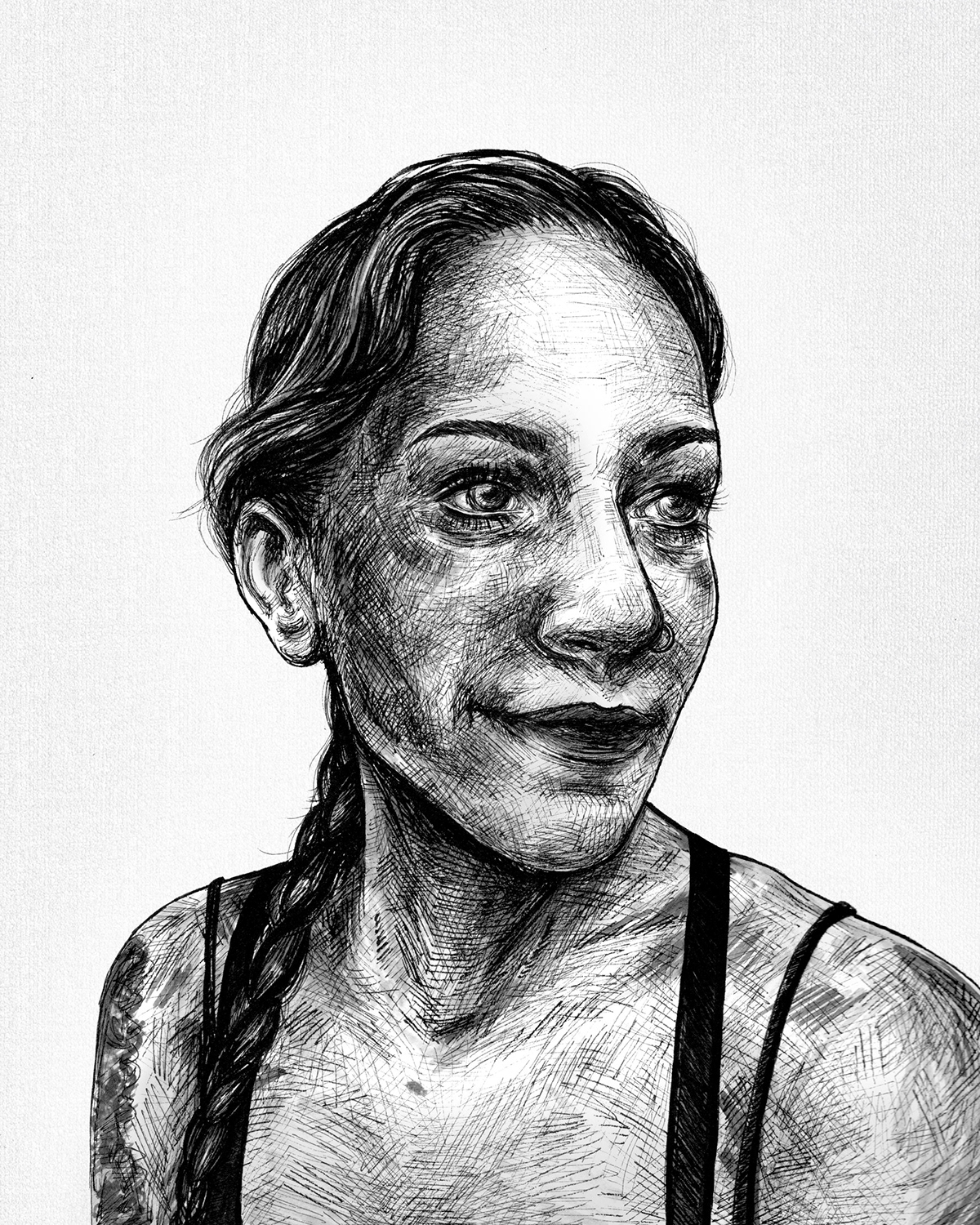 micron pen crosshatching portrait black and white Drawing  fine art Marker Copic art ink