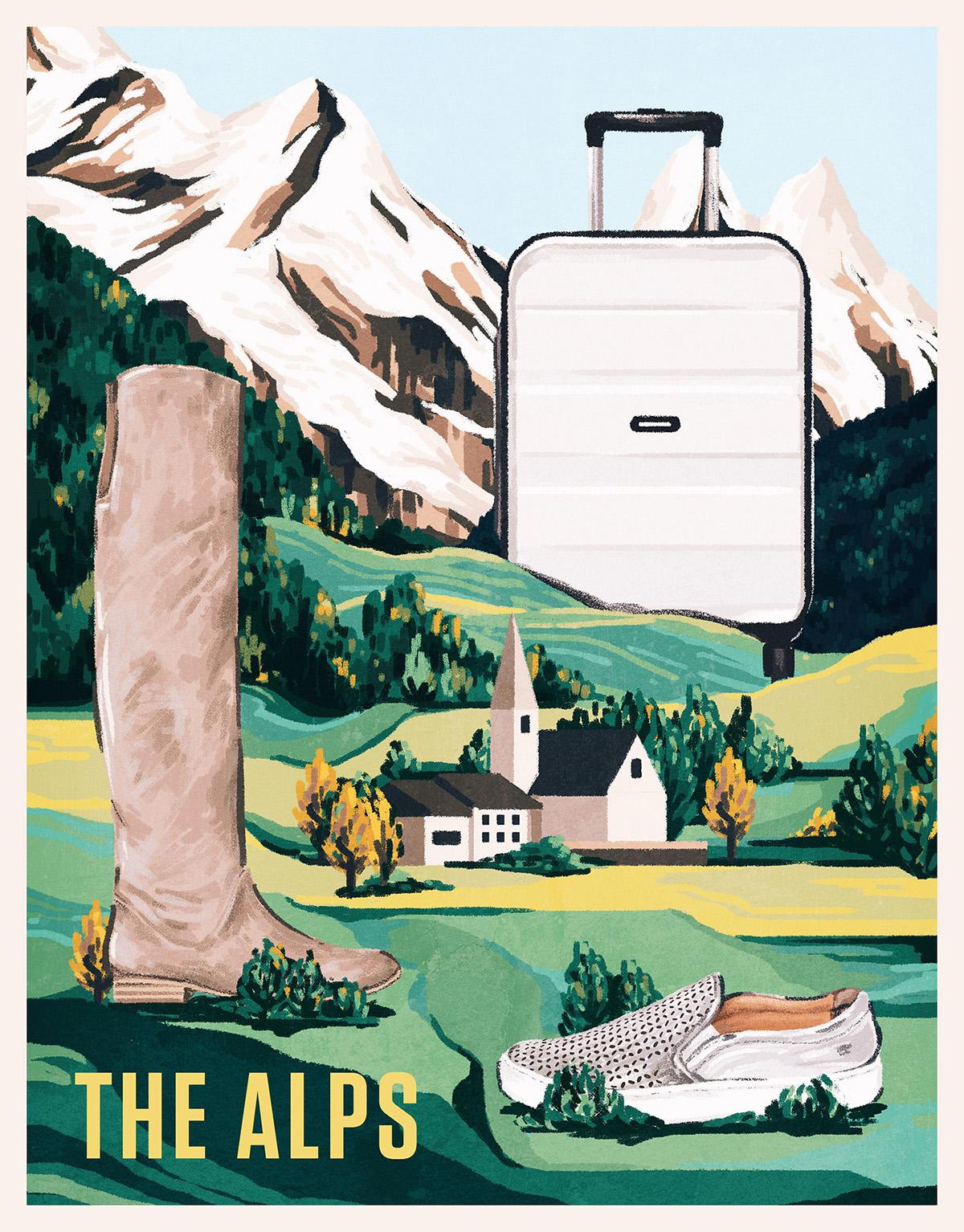 posters Travel vintage New York alps santorini