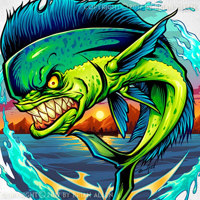 angry mahi mahi fish jumping water behance