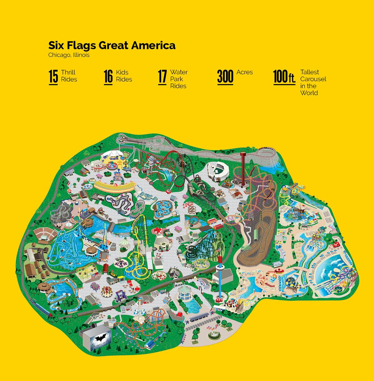 Six Flags Park Maps Illustration On Pantone Canvas Gallery