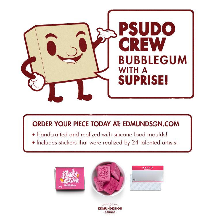 PsudoCrew Collaboration stickers Guerrilla marketing Candy bubble gum art