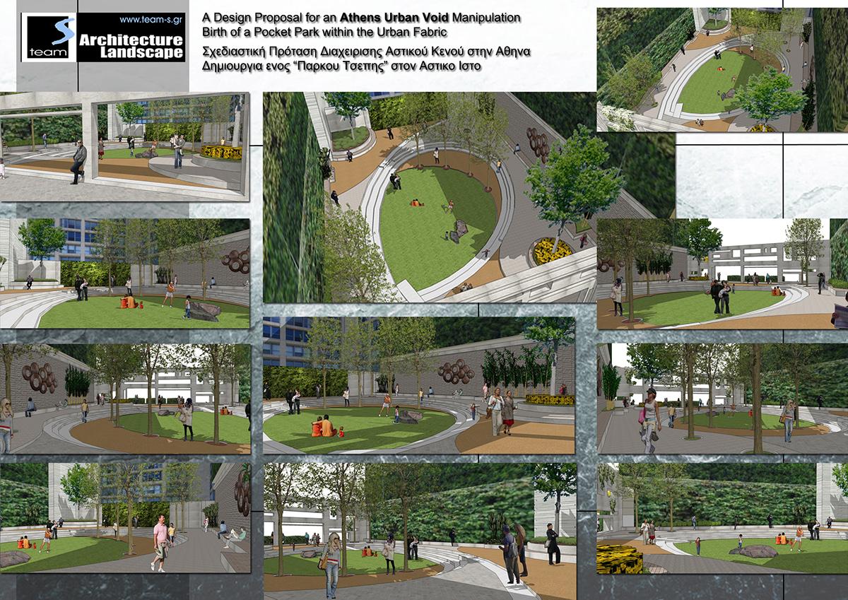 Landscape design pocket parks urban voids for athens on for Garden design proposal