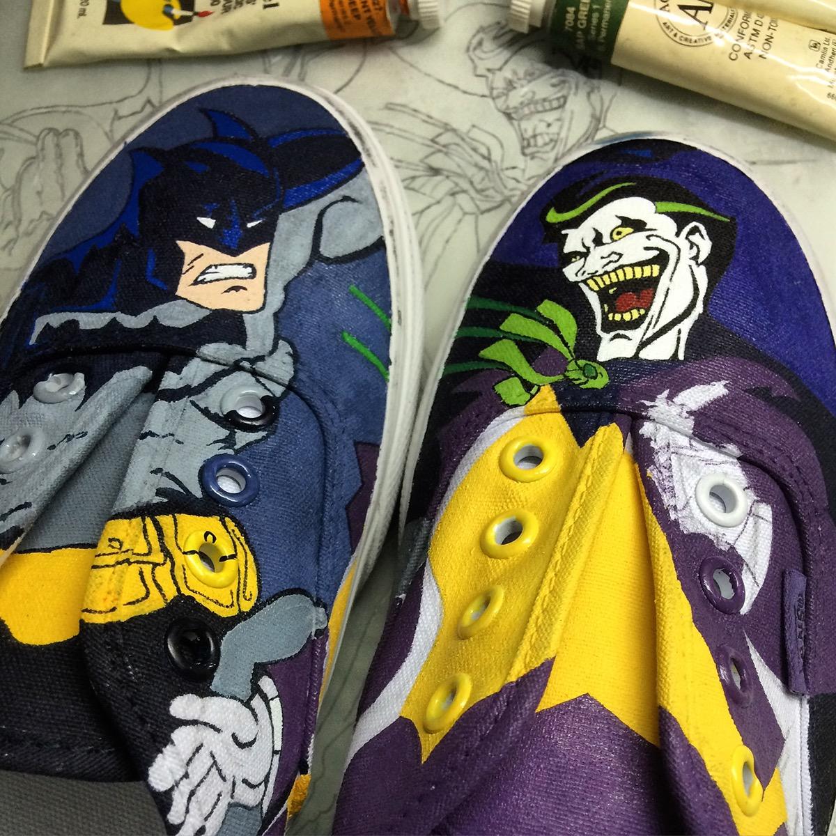 7ea2c142428a The Batman vs The Joker hand painted on Vans white canvas shoes.