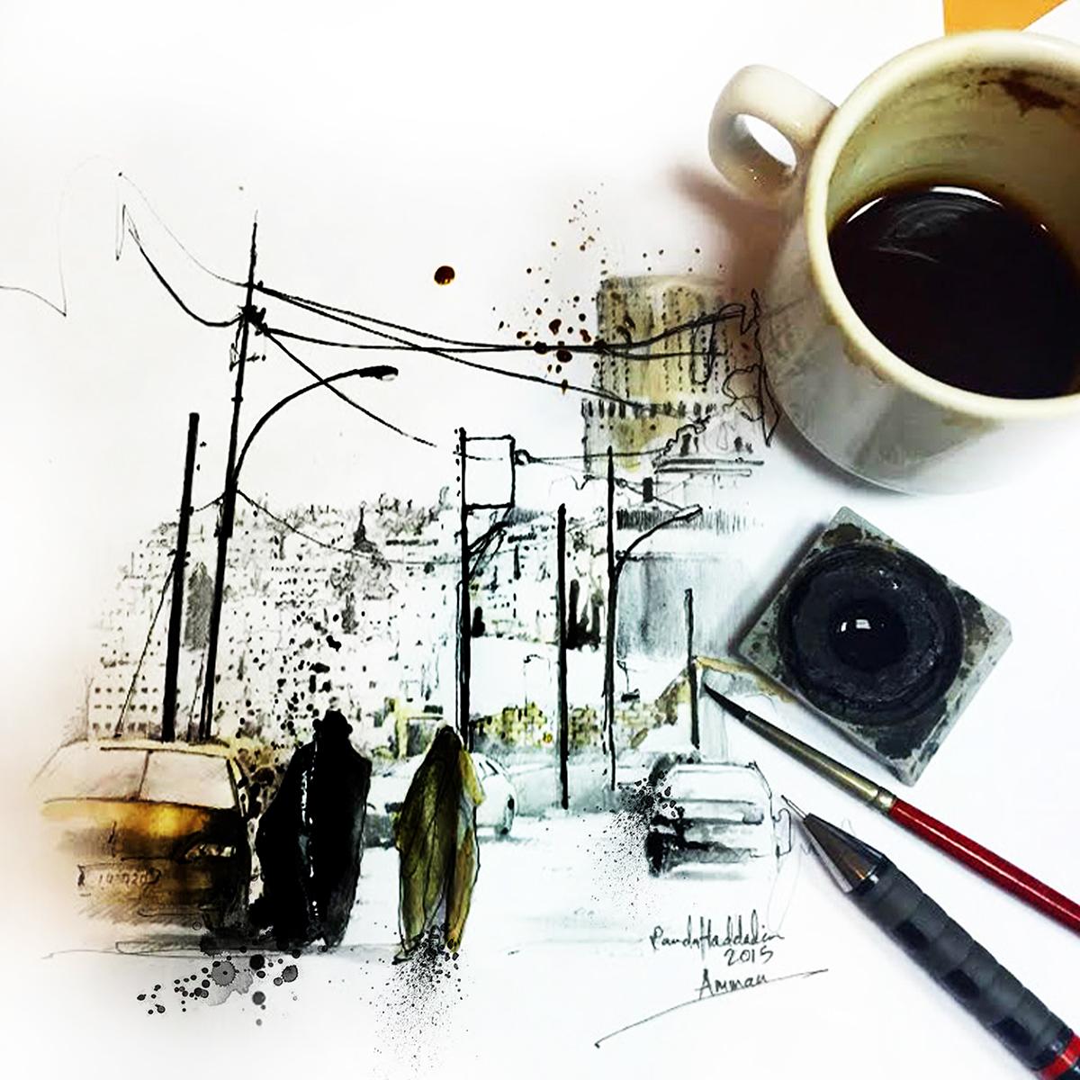 coffeeart illustration architecture Urbanart cityscape art sketch urbanism   amman jordan newyork streetstyle