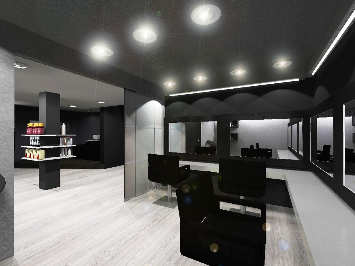 Am nagement d 39 un salon de coiffure on behance - Amenagement salon de coiffure ...