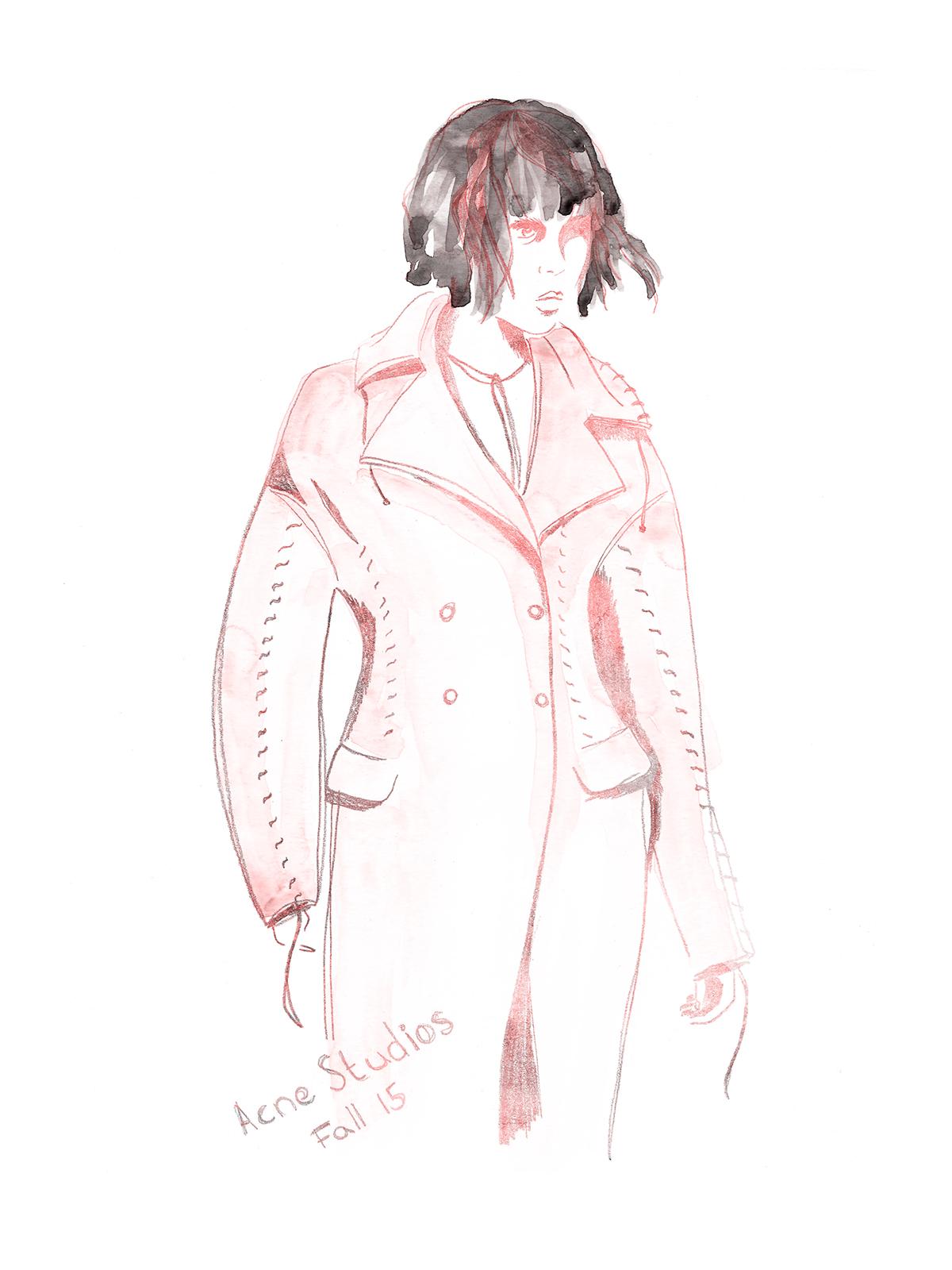 Fashion ,ILLUSTRATION ,hand drawing,watercolor,pencil,runway,Acne Studios,Dries Van Noten,sketching,editorial